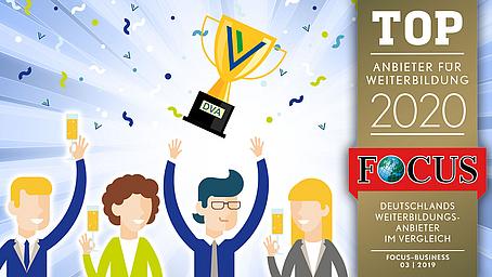 DVA als Top-Anbieter für Weiterbildung 2020 durch FOCUS-Business Magazin ausgezeichnet
